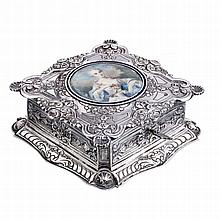 REIS, PORTO - Silver jewel case with a painting on ivory
