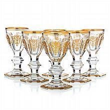 BACCARAT, FRANCE - Six glasses of liquor Empire