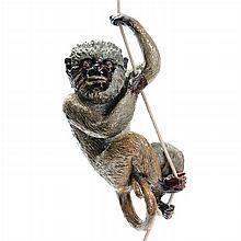 Large hanging Monkey in faience from Caldas