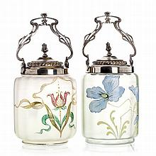 Two romantic bowls and cover in glass