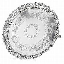 Silver salver with pierced gallery