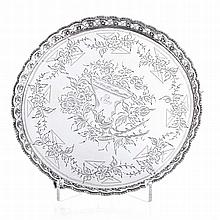 Silver salver with a pierced gallery