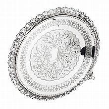 Salver with a pierced gallery in boar silver