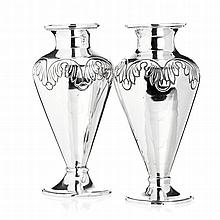 Pair of vases in silver