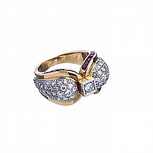 Ring in platinum and gold with diamonds and rubies