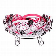 Bowl bicolor crystal, silver monture