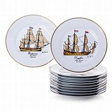 Set of plates 'The Ships of the Discoveries' from Vista alegre