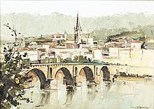 """PORTUGUESE SCHOOL, 20th century — """"Ponte da Barca"""""""