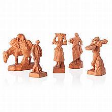 RAFAEL BORDALO PINHEIRO (1846-1905) - Five sculptures of Customs