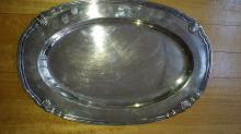 Christofle oval solid silver dish.