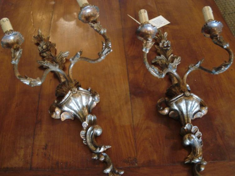 Pair of Italian wood sconces