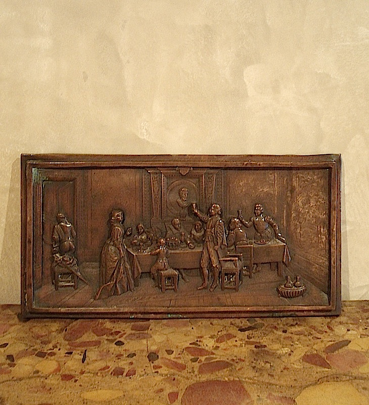 French bas relief in solid bronze