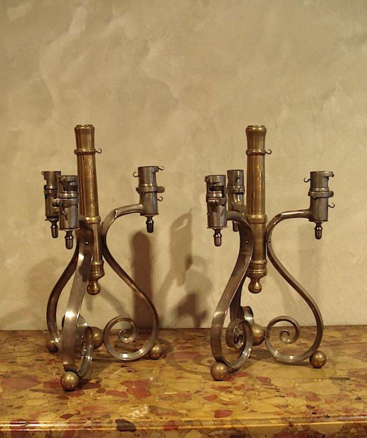 Pair of designer candlesticks