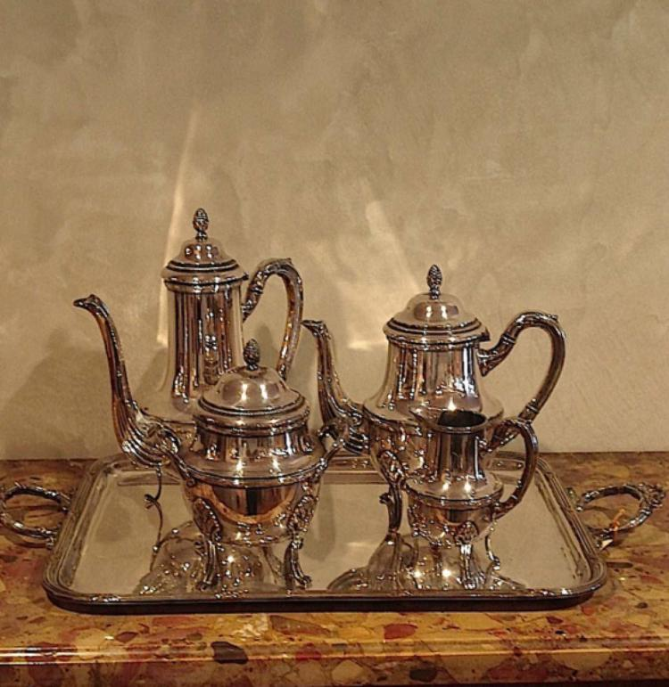 French silver plated tea set
