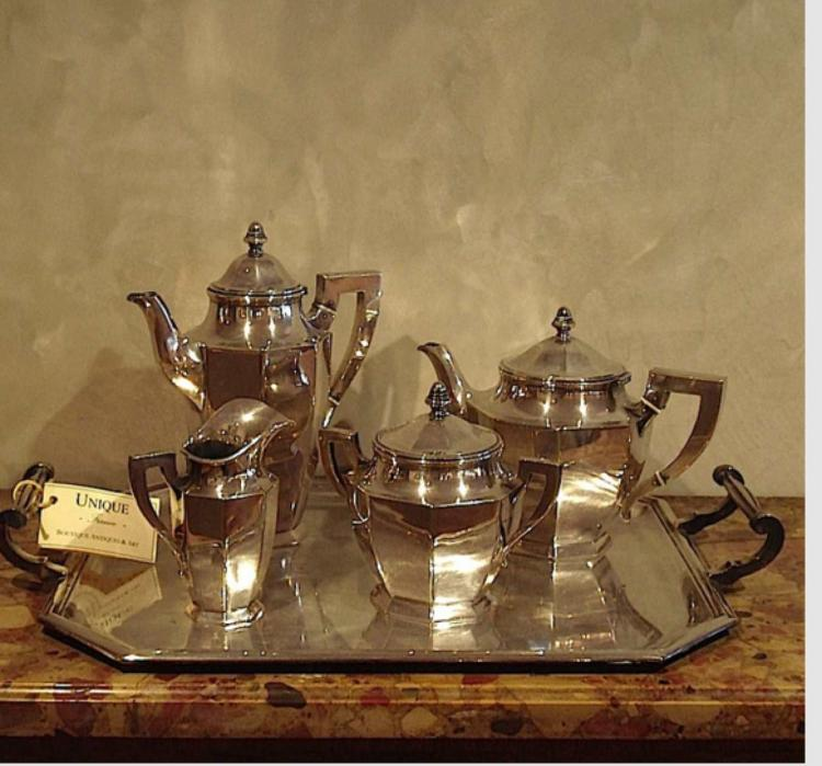 Silver plated Art Deco Set