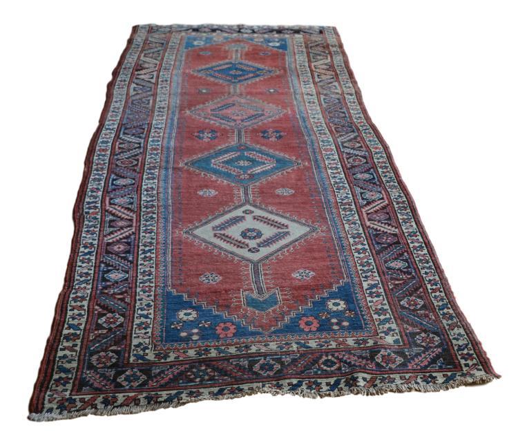 Antique Heriz Persian Rug Runner - 3' x 9'10in
