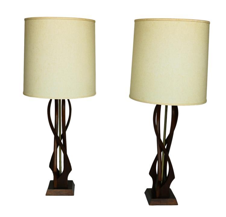 Mid-Century Sculptural Teak Wood Lamps