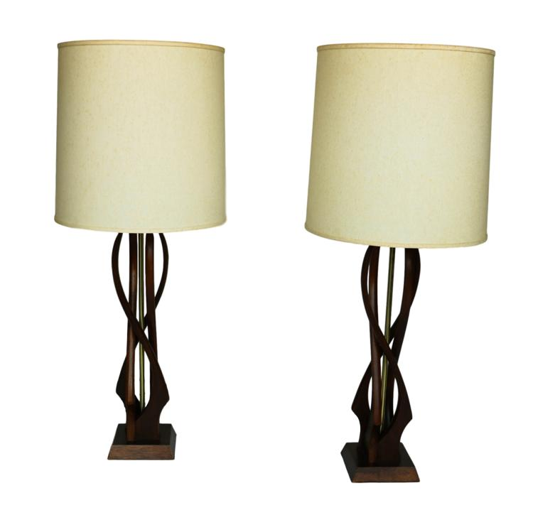 Pair Mid Century Sculptural Teak Wood Lamps