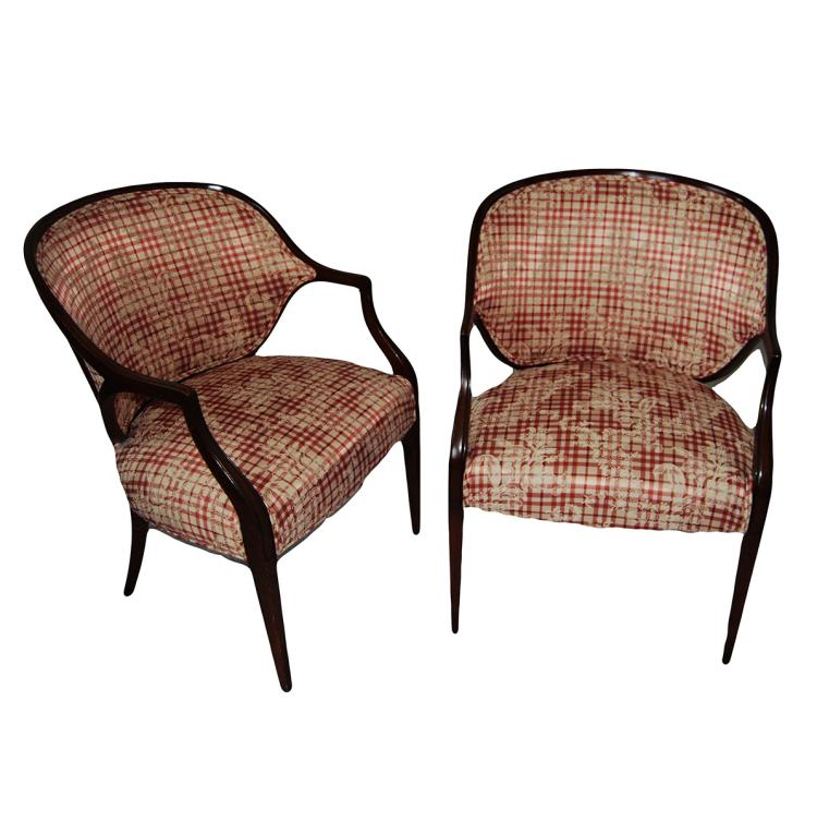 Pair Mahogany Federal Style Upholstered Armchair