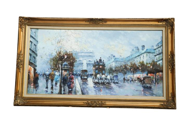 Johnny Gaston Paris Scene Oil Painting signed British, b.1955