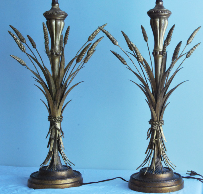 Pair of Mid-century Modern Sheaf-of -wheat table lamps by Frederick Cooper