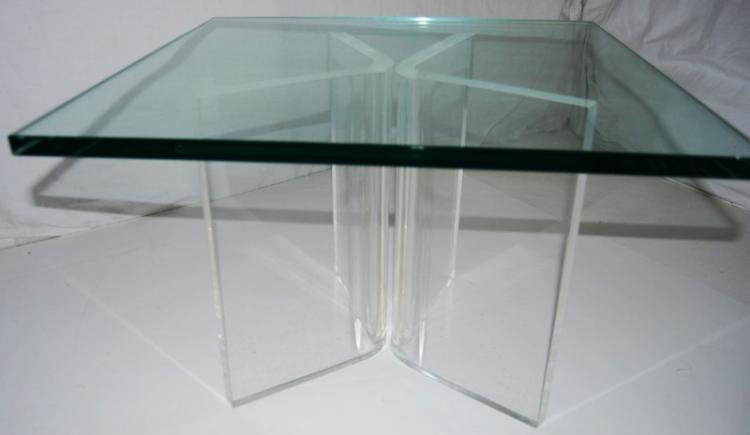 Mid-Century Modern Lucite & Glass Side Table