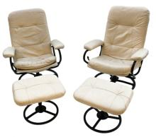 Beautiful Pair Mid-Century Modern Ekornes Stressless Upholstered Reclining Lounge Chairs Ottomans