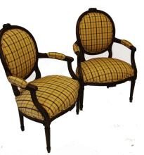 Pair of French Louis XVI Style Walnut Armchair