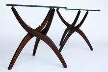 Sculptural Mid Century Modern Tables pair Vladimir Kagan Style