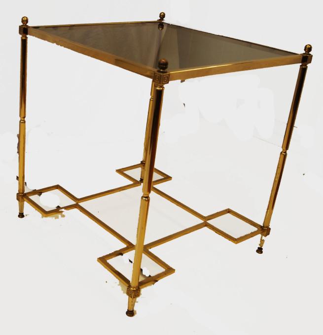 Vintage Hollywood Regency Brass Glass Top End Side Table