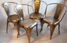 Bouchon French Industrial Steel Cafe Side Chair – Set of 4