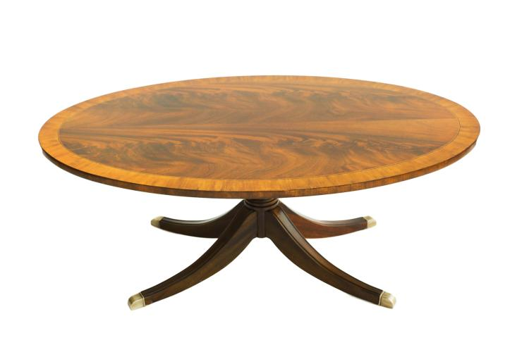 Mahogany Pedestal Oval Coffee Table