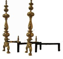 A pair of gilt-brass andirons