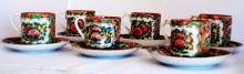 CHINESE EXPORT ROSE MEDALLIAN demitasse PORCELAIN CUPS AND SAUCERS