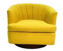 Mid-Century Yellow Swivel Tub Chair Milo Baughman Style
