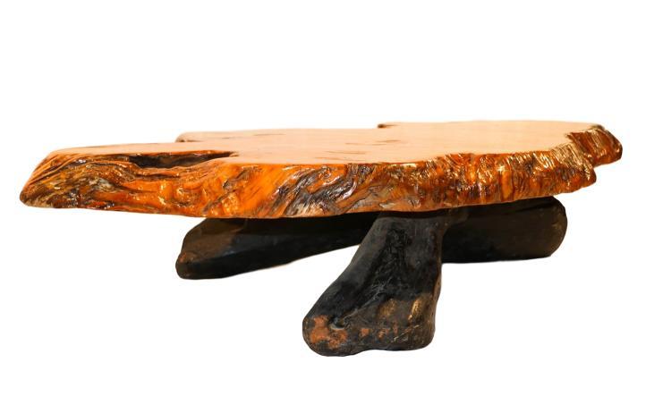 Mid century live edge wood tree slab coffee table for Lovable wood slab coffee table