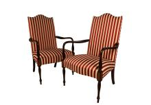 Pair Hickory Chair Mahogany Federal style Martha Washington chairs
