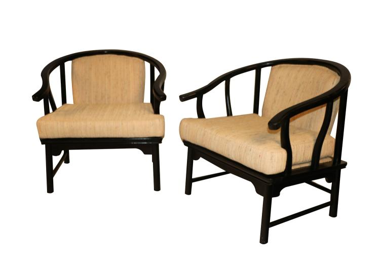 Chinese Style Black Lacquer Horseshoe Arm Chairs Pair Century Furniture