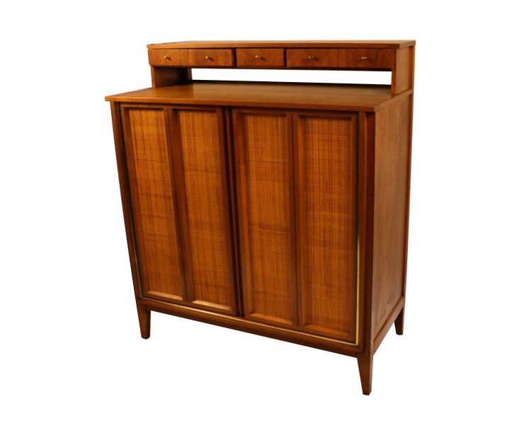 West Michigan Furniture Company Mid Century Modern Bar Cabinet Highboy  Dresser