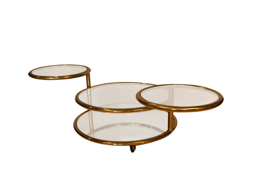 Glass Swivel Coffee Table.Milo Baughman Style Mid Century Four Tier Brass Glass Swivel Coffee Table
