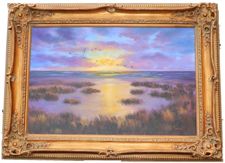 Violet Parkhurst inGeorgia Sunrise Wetlandsin Original Oil Painting