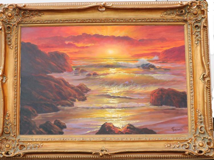 Violet Parkhurst inRocky Main Coast Sunsetin Original Oil Painting