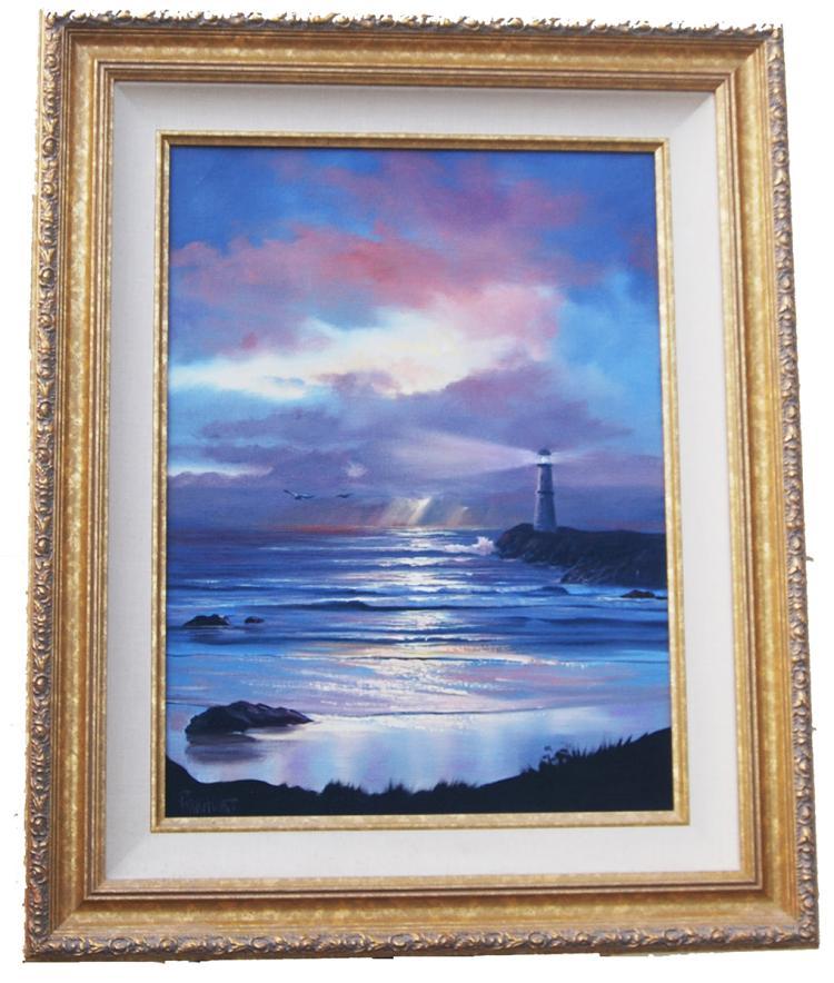"Violet Parkhurst ""Lighthouse"" Original Oil Painting"