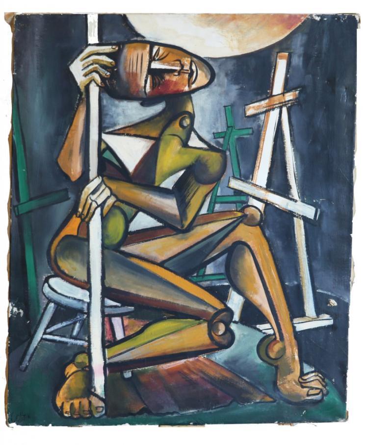 "Alvin M. Cohen Oil on Canvas ""The Model"""