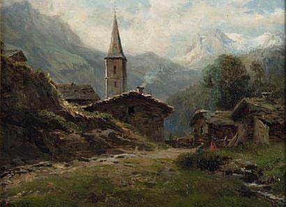 LORTET LEBERECHT (1826-1901) Le village dans la