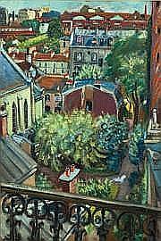 CRAS MONIQUE (1910-2007) Vue de son atelier Huile