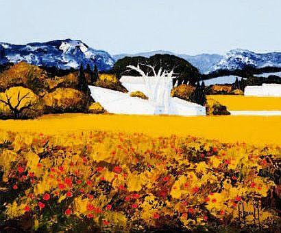 REAULT patrick Bouquet jaune Huile sur toile