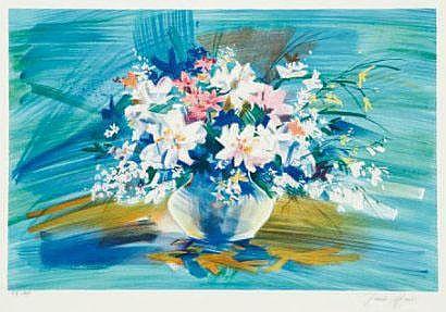 MARS Claude Bouquet lithographie signée en bas à