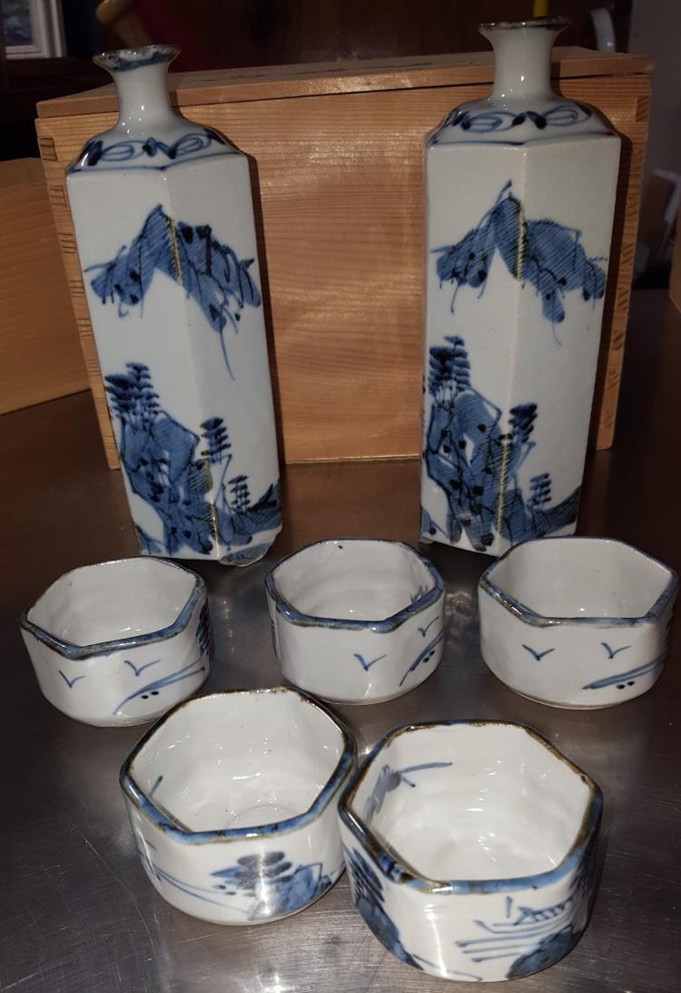 Signed  Blue & White 7 Pcs Sake Set