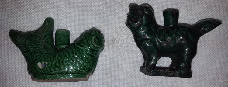 2 Green Foo Dog & Fish Brush Washers